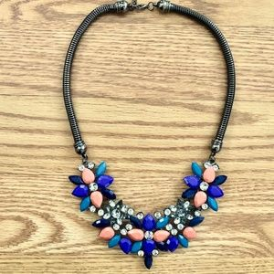 Indigo, Teal, Peach Crystal & Rhinestone Necklace